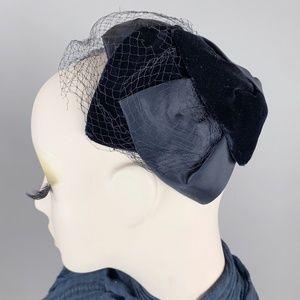 Vintage 50s Velvet Satin Juliette Veil Net Hat